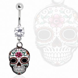 Piercing nombril sugar skull blanc