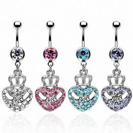 Piercing nombril pendentif coeur couronne