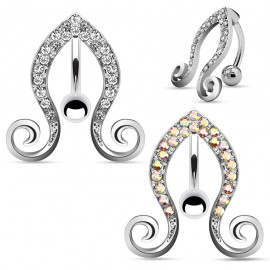 Piercing nombril inversé vigne strass