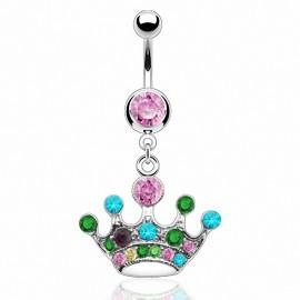 Piercing nombril couronne multicolore