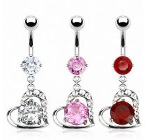 Piercing nombril coeur pierre ronde