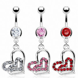 Piercing nombril double coeur strass