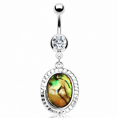 Piercing nombril nacre abalone