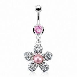 Piercing nombril perle fleur