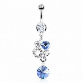 Piercing nombril gemmes bleu