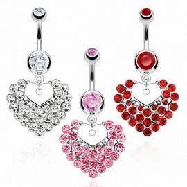 Piercing nombril Coeur Multiples Gemmes