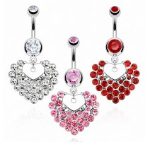 Piercing nombril Coeur Multiples Gemmes