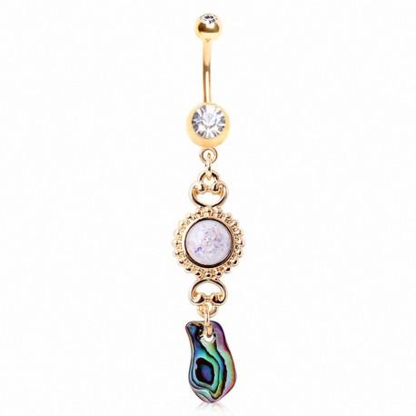 Piercing nombril plaqué or soleil opale