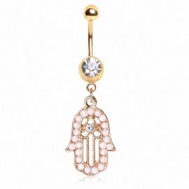 Piercing nombril plaqué or main de fatma perles