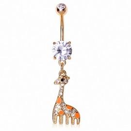 Piercing nombril plaqué or girafe