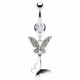 Piercing nombril double papillons