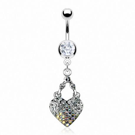 Piercing nombril coeur cadenas clef