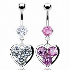 Piercing nombril coeur trois gemmes