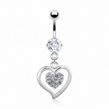 Piercing nombril coeur avec strass