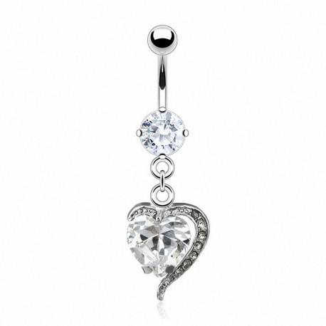 Piercing nombril coeur avec pierre