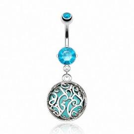 Piercing nombril médaillon turquoise