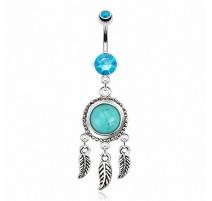 Piercing nombril attrape rêve pierre turquoise