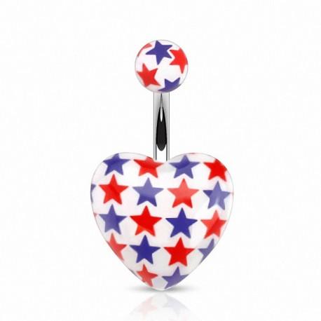Piercing nombril coeur étoiles bleu et rouge
