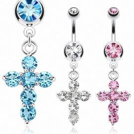 Piercing nombril pendentif croix