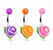 Piercing nombril rose silicone bicolore