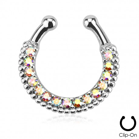 Faux piercing septum strass