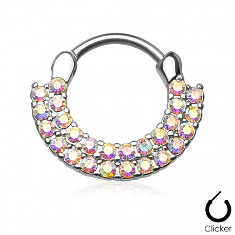 Piercing septum rond double rangée strass