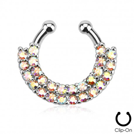 Faux piercing septum double rangée de strass