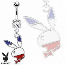 Piercing nombril Playboy bleu blanc rouge