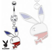 Piercing nombril Playboy bleu blanc rouge