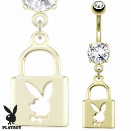 Piercing nombril Playboy plaqué or cadenas