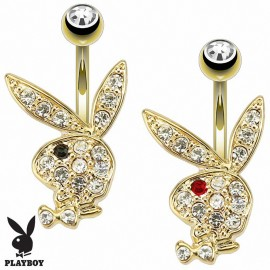 Piercing nombril Playboy plaqué or lapin