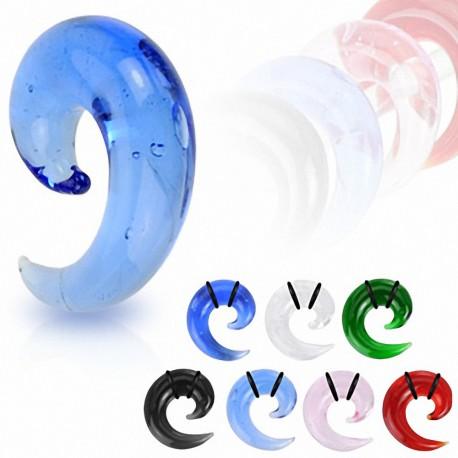 Piercing Ecarteur Oreille Acrylique Spirale Transparent