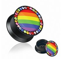 Piercing Plug Acrylique Drapeau Gay