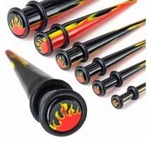 Piercing Ecarteur Oreille Acrylique UV Flammes