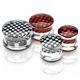 Piercing Plug Acrylique Transparent Damier