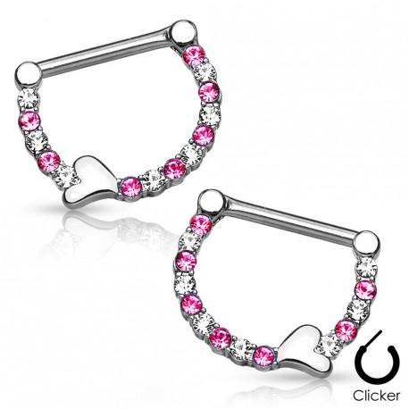 Paire de piercing téton crystal coeur