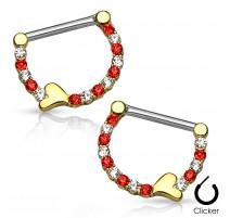 Paire de piercing téton plaqué or crystal coeur