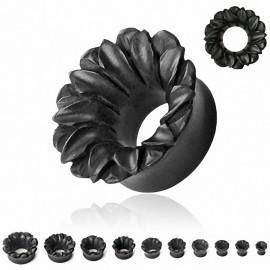 Piercing plug bois areng noir fleur de lotus
