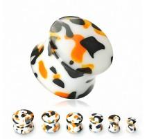 Piercing Plug Oreille Acrylique Camouflage Orange/Noir