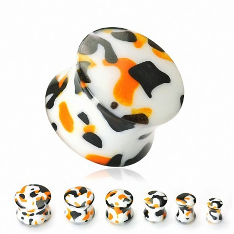 Piercing Plug Oreille Acrylique Camouflage Orange/Noir