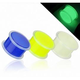 Piercing Plug Acrylique Glow in The Dark avec anneaux