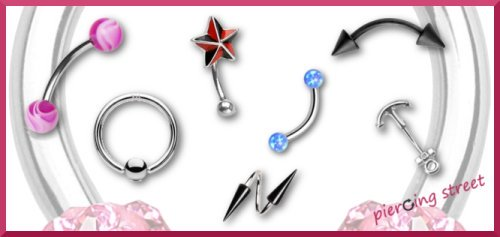 sélection de piercings à l'arcade