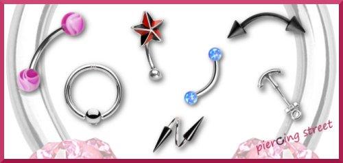 sélection de piercings à l'arcade