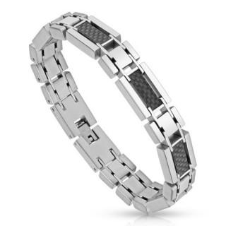 Bracelet homme acier fibre de carbone noire